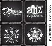 vector class of 2017 badge on... | Shutterstock .eps vector #618947996