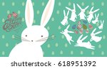 easter card with cute bunnies...   Shutterstock .eps vector #618951392