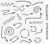 vector hand drawn arrows doodle ... | Shutterstock .eps vector #618955706