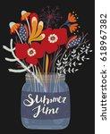 bouquet of flowers in glass jar.... | Shutterstock .eps vector #618967382