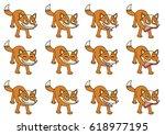 set of 12 cute cartoon foxes... | Shutterstock .eps vector #618977195