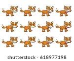 set of 12 cute cartoon foxes... | Shutterstock .eps vector #618977198