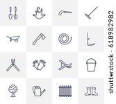set of 16 farm outline icons... | Shutterstock .eps vector #618982982