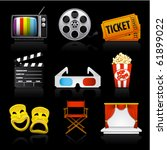 movie entertainment icons on...   Shutterstock .eps vector #61899022