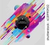 geometric glitch vector poster. ... | Shutterstock .eps vector #618990932
