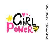 girl power vector poster with... | Shutterstock .eps vector #619010906