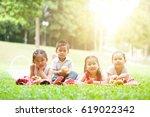 portrait of asian children... | Shutterstock . vector #619022342