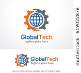 global tech logo template... | Shutterstock .eps vector #619022876