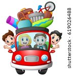 family traveling in a car | Shutterstock . vector #619026488