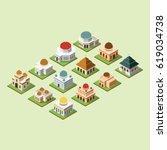 mosque 3d design vector.... | Shutterstock .eps vector #619034738