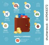 monthly expenses concept with... | Shutterstock .eps vector #619043372