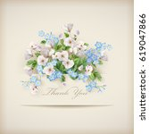 floral 'thank you' card with... | Shutterstock .eps vector #619047866