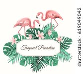 tropical paradise composition.... | Shutterstock .eps vector #619049042