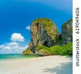 railay west beach in ao nang ... | Shutterstock . vector #619049606