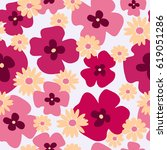 seamless floral texture with a  ... | Shutterstock .eps vector #619051286