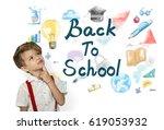 kids back to school education... | Shutterstock . vector #619053932