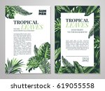 tropical palm leaves background.... | Shutterstock .eps vector #619055558