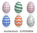 happy easter.set of easter eggs ... | Shutterstock .eps vector #619056806