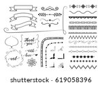 set of hand drawn decorative...   Shutterstock .eps vector #619058396