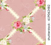 seamless floral pattern with... | Shutterstock .eps vector #619062482