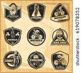 black biking emblems set with...   Shutterstock .eps vector #619078352