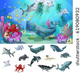 cartoon sea and ocean fauna... | Shutterstock .eps vector #619080932