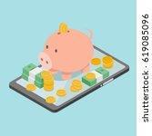 pig piggy bank on phone  around ... | Shutterstock .eps vector #619085096