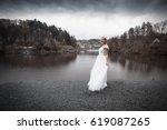 Woman In Wedding Dress Standing ...