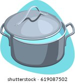 stainless pot with hot clean... | Shutterstock .eps vector #619087502