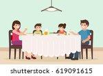 family dinner. cartoon... | Shutterstock .eps vector #619091615