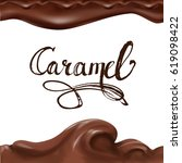 liquid chocolate  caramel or... | Shutterstock .eps vector #619098422