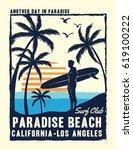 california  los angeles surfer... | Shutterstock .eps vector #619100222