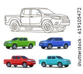 truck car set outline and... | Shutterstock .eps vector #619105472