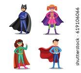 set of cartoon super heroes....   Shutterstock . vector #619106066