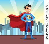 cartoon superhero in red cape.... | Shutterstock . vector #619106072