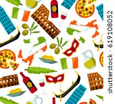 italy seamless pattern. italian ... | Shutterstock .eps vector #619108052