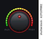 black knob button. min and max...