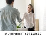 hr manager meeting with job... | Shutterstock . vector #619110692
