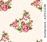 seamless floral pattern with... | Shutterstock .eps vector #619111238