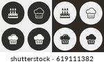 cake vector icons set.... | Shutterstock .eps vector #619111382