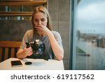the girl is unhappy with the... | Shutterstock . vector #619117562