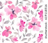 romantic pink floral seamless... | Shutterstock . vector #619118516