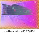 alphabet m art background | Shutterstock .eps vector #619122368