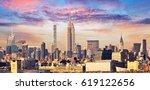 manhattan skyline with empire...   Shutterstock . vector #619122656
