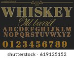 whiskey font  handcrafted design | Shutterstock .eps vector #619125152