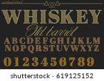 whiskey font  handcrafted design | Shutterstock .eps vector #619125152