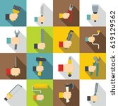 hand tool icons set building.... | Shutterstock .eps vector #619129562