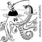 fisherman catch octopus | Shutterstock .eps vector #61913491