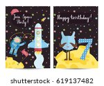 happy birthday cartoon greeting ... | Shutterstock .eps vector #619137482