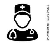 nurse icon   vector medical... | Shutterstock .eps vector #619139318